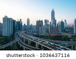 elevated view of shanghai... | Shutterstock . vector #1036637116