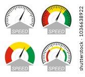 speedometer icon set. speed... | Shutterstock .eps vector #1036638922