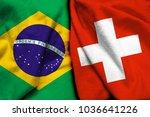 brazil flag and switzerland...   Shutterstock . vector #1036641226