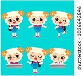 vector set of cute little sheep ...   Shutterstock .eps vector #1036642846