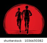 man and woman running together  ... | Shutterstock .eps vector #1036650382