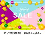 spring sale poster with flower... | Shutterstock .eps vector #1036661662