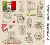set of rome doodles   for... | Shutterstock .eps vector #103668602