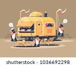 mobile van kiosk for sale... | Shutterstock .eps vector #1036692298
