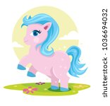colorful pony fantasy horse... | Shutterstock .eps vector #1036694032