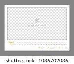 simple wall calendar august... | Shutterstock .eps vector #1036702036