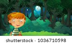 cartoon scene with young boy... | Shutterstock . vector #1036710598