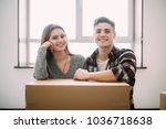 young tired satisfied couple... | Shutterstock . vector #1036718638