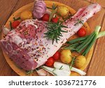 fresh and raw meat. leg of lamb ... | Shutterstock . vector #1036721776
