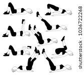 set of woman doing sport... | Shutterstock .eps vector #1036722268