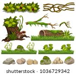 nature elements with grass and... | Shutterstock .eps vector #1036729342