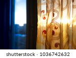 Small photo of Right aligned window curtain object background