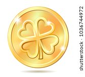 golden coin with four leaf... | Shutterstock .eps vector #1036744972