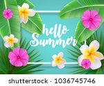 hello summer natural floral... | Shutterstock .eps vector #1036745746