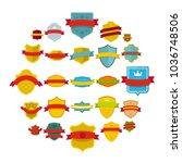 shield badge icons set. flat... | Shutterstock . vector #1036748506