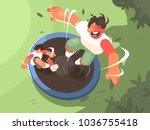 two guys jumping on trampoline. ... | Shutterstock .eps vector #1036755418