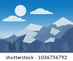 mountain snow and blue sky | Shutterstock .eps vector #1036756792