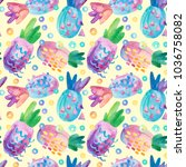 colorful decorative pineapples... | Shutterstock . vector #1036758082