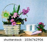 spring flowers bouquet and cofee   Shutterstock . vector #1036762906