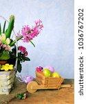 macaroon and flowers   Shutterstock . vector #1036767202