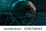 particle emitting earth globe... | Shutterstock . vector #1036768465