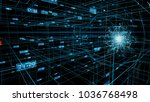 energy wave over a blue network ... | Shutterstock . vector #1036768498