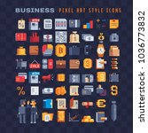 business elements pixel art 80s ... | Shutterstock .eps vector #1036773832