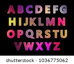 set of letters  neon glow ... | Shutterstock .eps vector #1036775062