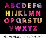 set of letters  neon glow ... | Shutterstock .eps vector #1036775062