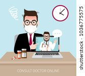 the patient consult doctor... | Shutterstock .eps vector #1036775575