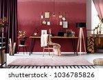 pink blanket on metal chair... | Shutterstock . vector #1036785826