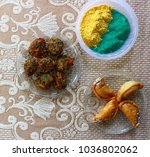 holi celebration with snacks ... | Shutterstock . vector #1036802062