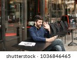 happy businessman typing... | Shutterstock . vector #1036846465