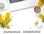 spring frame flat lay with...   Shutterstock . vector #1036852342