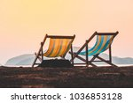 beach chair with the sea on...   Shutterstock . vector #1036853128