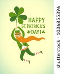 cute cartoon leprechaun flying... | Shutterstock .eps vector #1036855396