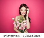 pink background  fashionable... | Shutterstock . vector #1036856806