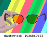 somebody's hand holding glasses ... | Shutterstock .eps vector #1036860838