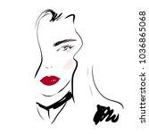 fashion woman face portrait... | Shutterstock .eps vector #1036865068