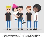 international group of young... | Shutterstock .eps vector #1036868896