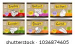 set colorful food labels ... | Shutterstock .eps vector #1036874605