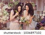 beautiful asian florist girls... | Shutterstock . vector #1036897102