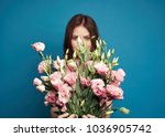 elegant woman with pink flowers ... | Shutterstock . vector #1036905742