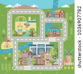 city vector illustration with... | Shutterstock .eps vector #1036907782