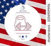 kettlebell and barbell line icon | Shutterstock .eps vector #1036909906