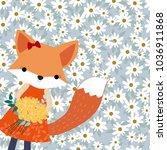 Cute Baby Fox In Spring Summer...