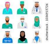 arab medical staff set. islamic ... | Shutterstock .eps vector #1036915726