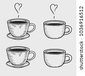 vector coffee cup or tea cups... | Shutterstock .eps vector #1036916512
