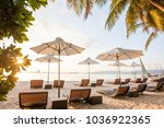 chaise longues at the beach on... | Shutterstock . vector #1036922365