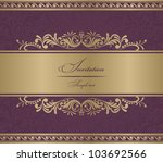 invitation card burgundy baroque | Shutterstock .eps vector #103692566